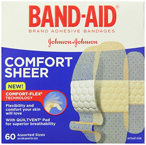 Band-Aid Brand Adhesive Bandages, Sheer Strips, Assorted, 60 Count (Pack of 6)