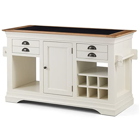 Dijon cream painted furniture large granite top kitchen island unit worktop