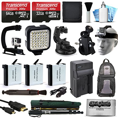 All You Need Accessories Bundle for GoPro HERO4 Hero 4 Black Silver includes 96GB MicroSD + Battery (3 Pack) + Travel Charger + Head Strap + Car Mount + LED Light + Backpack + Selfie Stick + More (Go Pro Hero 4 White Accesories compare prices)
