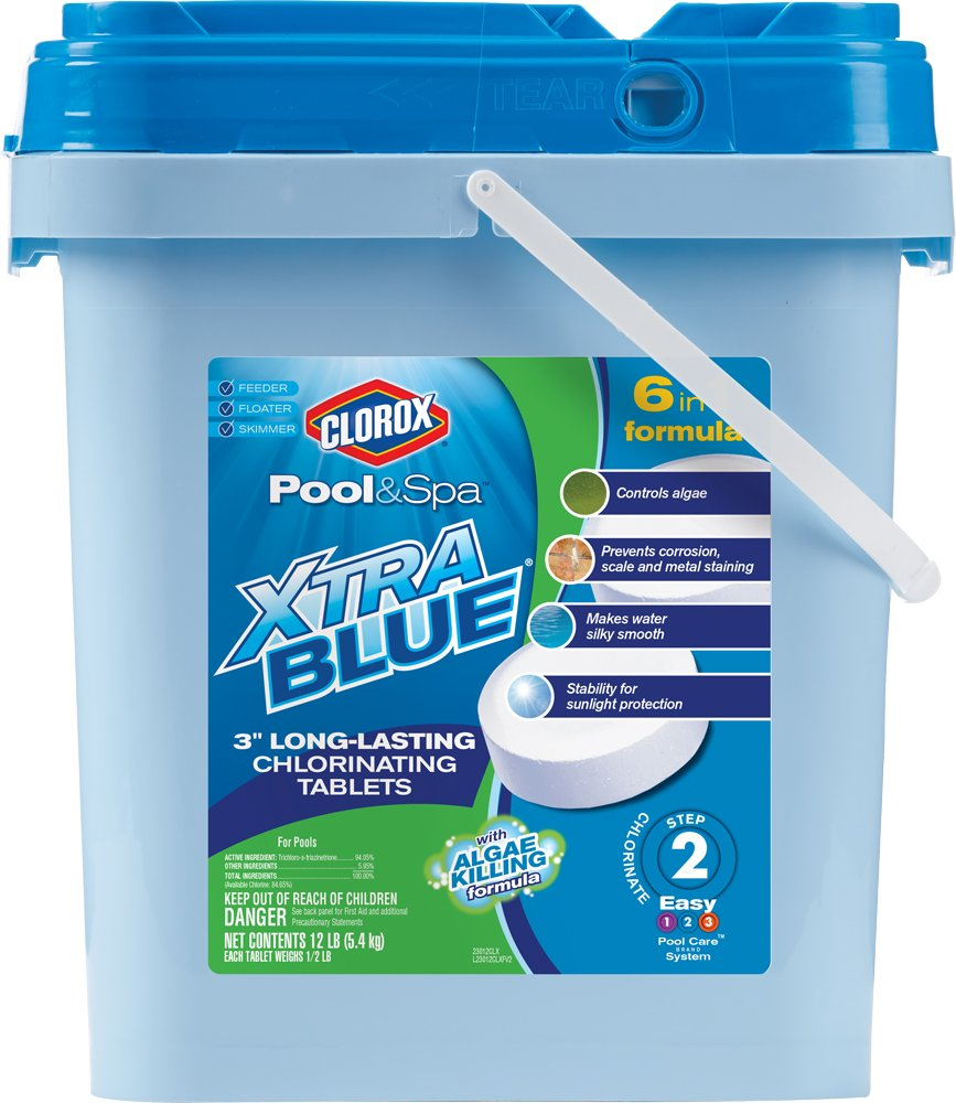 Clorox Pool&Spa Xtra Blue 3-Inch Long Lasting Chlorinating Tablets, 12-Pound 23012CLX
