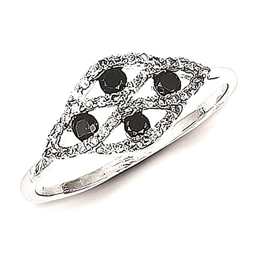 Sterling Silver w/ Black and White Diamond Fancy Ring
