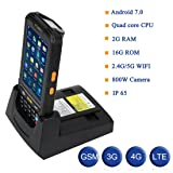 MUNBYN 3G 4G handheld android 7.0 POS terminal with touch screen 1D honeywell barcode scanner wifi bluetooth GPS and charger cradle for delivery warehouse management (Color: 1D POS Scanner)