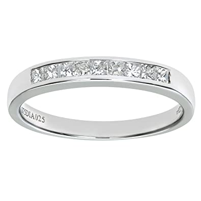 Naava 9 ct White Gold 0.25ct Princess Cut Diamond Channel Set Half Eternity Ring, White Gold, N