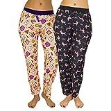 Real Essentials 2 Pack Women's Super-Soft Pajama Pants Pizza/Black Princess - L
