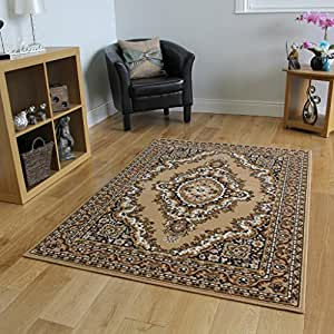 Traditional beige brown medallion rug 190cm x 280cm 6ft 3 for Traditional kitchen rugs