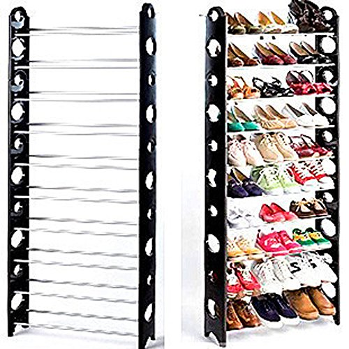 10 Tier Space Saving Storage Organizer 30 Pair Shoe Tower Rack Free Standing (Expresso Storage Bins compare prices)