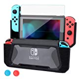 momen Cover Case for Nintendo Switch with Tempered Glass Screen Protector, TPU Hard Shock-Absorption Anti-Scratch Switch Protective Case-Black (Color: Black)
