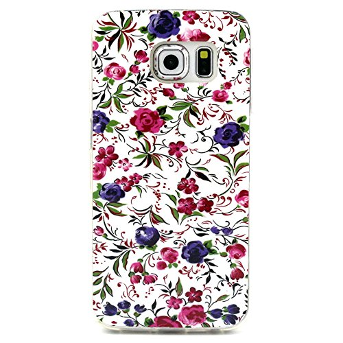 IKASEFU Case for Samsung Galaxy S6 Edge,TPU Case for Samsung Galaxy S6 Edge,Flower Case for Samsung Galaxy S6 Edge,Colorful Case Case for Samsung Galaxy S6 Edge,Special Cute Flower Heart Quote Butterfly Series Soft TPU Back Case Cover for Samsung Galaxy S6 Edge (Pattern#8)