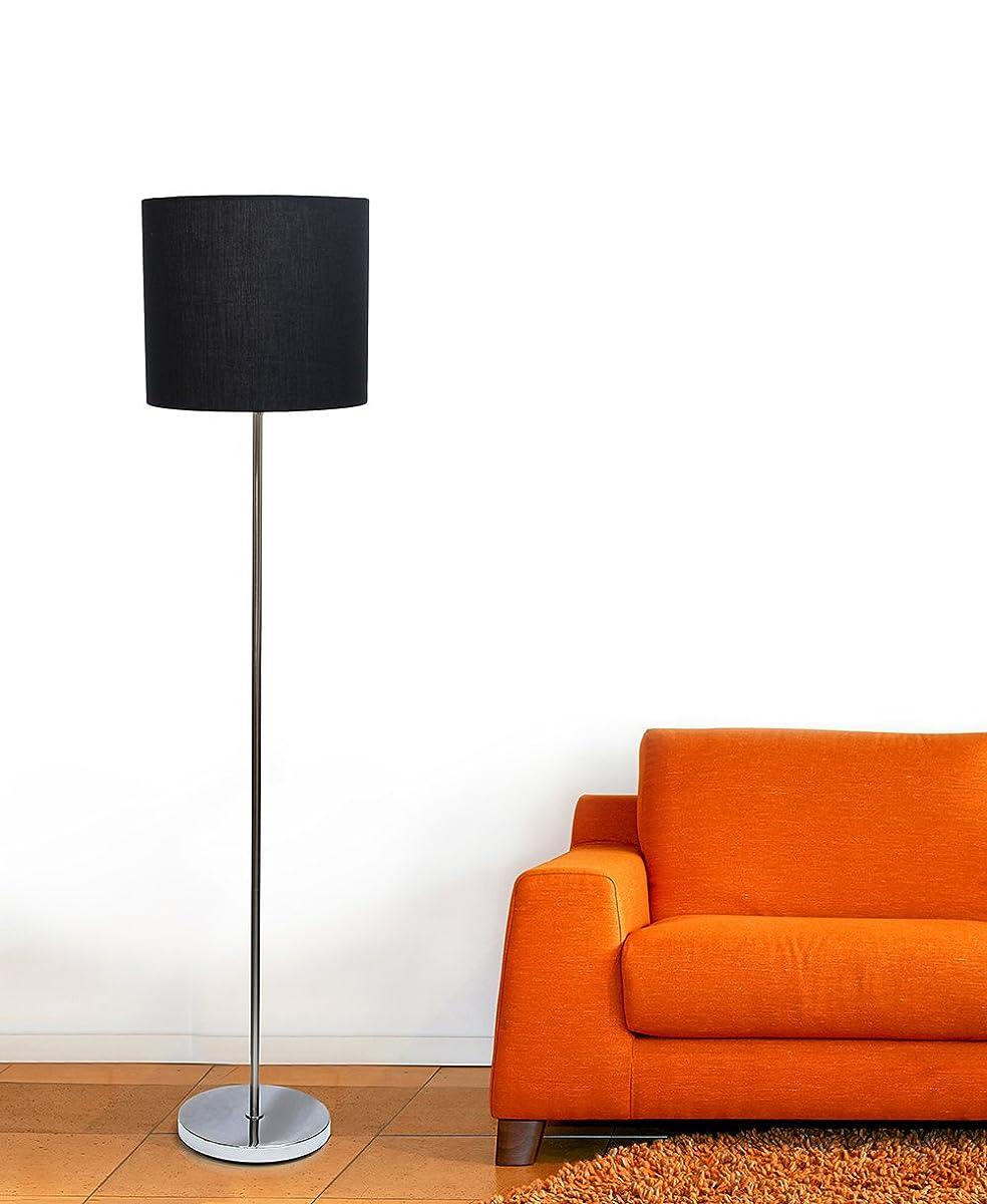 Simple Designs Home LF2004-BLK Simple Designs Brushed Nickel Drum Shade Floor Lamp, Black Brushed Nickel Drum Shade Floor Lamp, Blackblack