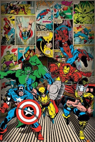 Marvel Here Come the Heroes Manifesto 61 x 91cm