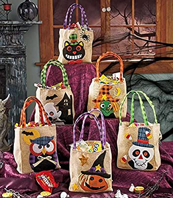 Sets of 6 Embellished Burlap Hallown Treat Bags