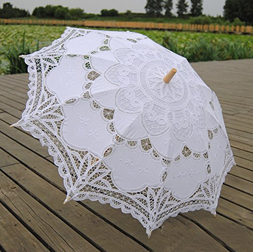 Worldoor® White Wedding Lace Parasol Umbrella Victorian Lady Costume Accessory Bridal Party Decoration Photo Props/New Vintage Lace Umbrella Handmade Cotton Embroidery White Battenburg Lace Parasol Umbrella Wedding Decorations
