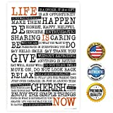 "ZENDORI ART ""Life Is NOW"" Manifesto - Home Decor Print Decoration - Wall Quote - Made in USA (Poster on Canvas Paper, 12 x 18)"