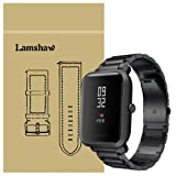 For Xiaomi Amazfit Bip Band, Lamshaw Stainless Steel Metal Replacement Straps for Xiaomi Huami Amazfit Bip Younth Watch (Black) (Color: Black)