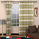 Ajay Furnishings 2 Piece Polyester Stripe Door Curtain - 7 ft, Green