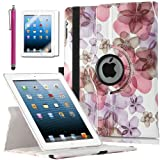 ULAK Premium Floral Patterned PU Leather 360 Degree Rotating Smart Stand Case Cover for Apple iPad 2 iPad 3 iPad 4 New iPad with Screen Protector Stylus and Auto Wake/Sleep Function (Rose Red Flower)