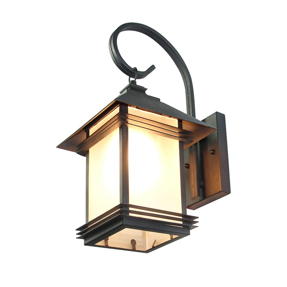 LNC Industrial Edison Vintage Style Loft One-Light Exterior Wall Lantern Outdoor Light Fixture,Black Finish with Glass 3