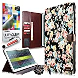 CaseiLike® Magnet Wallet Flip Case Cover for Samsung Galaxy Note Pro 12.2 inch P900 / P901 + Screen Protector + Stylus Pens + Anti Dust Plug (Random Color) (Samsung Galaxy Note Pro P900 / P901, Black Elegant Rose Floral Pattern 2228 Canvas)