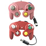 Crifeir 2 Pack Wired Controller for Gamecube NGC Wii Video Game (Pink and Red) (Color: Pink and Red)