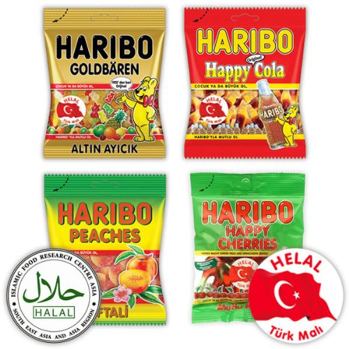 Haribo Helal / Halal, Bestseller Set, Gummibärchen, Weingummi, Fruchtgummi, 380g