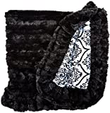 BESSIE AND BARNIE Pet Blanket, Small, Versailles Blue/Black Puma with Ruffle