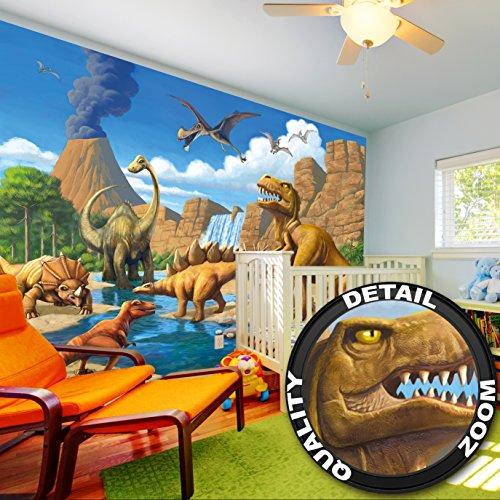 fototapete kinderzimmer abenteuer dinosaurier wandbild dekoration dino welt wandbild comic. Black Bedroom Furniture Sets. Home Design Ideas