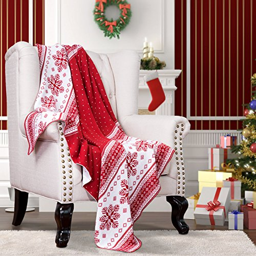 "Buy Bedsure Designs Knitted Throw Blanket, Christmas Pattern, 50""x60"" - Red & White"