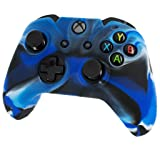 Silicone Skin Protective Cover for XBOX One Controller [Camouflage Blue + Blue Caps] (Color: Blue + Blue Caps)