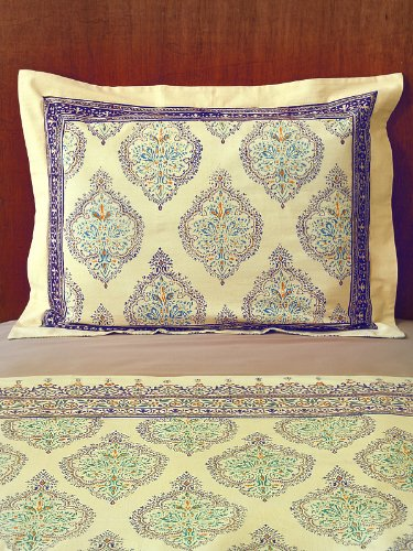 Morning Dew ~ Elegant Unique Yellow Blue French Standard Pillow Sham 25X31 front-278766
