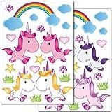 Set-de-stickers-muraux-Wandkings-Douces-licornes-38-autocollants-sur-2-feuilles-A4
