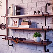 Reclaimed Wood & Industrial DIY Pipes Shelves For Home(36)