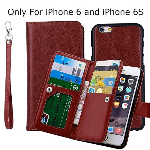 "iPhone 6 6S 4.7"" Wallet Case , TaoFilm Pro Premium PU Leather Wallet Bag Case [2 in 1 Magnetic Detachable Back Cover Flip] [ 9 Card Slots] [Wrist Strap] For Apple iPhone 6 & 6S 4.7 inch (Brown)"