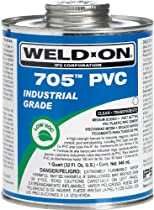 Weld-On 705 10097, Industrial Grade, Plumbing Cement, Medium-Bodied, Fast-Setting, 1/2 pint, Can with Applicator Cap Clear