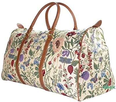 Tapestry Weekend Holdall/Luggage Bag/Travel Bag (large) Wild Flower - Gobelin Style