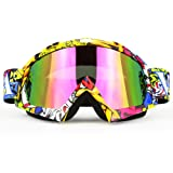 Professtional Adult Motorcycle Goggles Off Road Dirt Bike ATV Riding Motocross Mx Goggles Glasses for Men Women Youth Kids(C74) (Color: yellow 2)