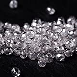 60 pcs 3 mm Czech Fire Polished Faceted Round Glass Bead Clear with Light Silver Coating
