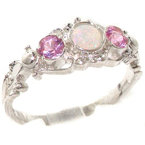 925 Solid Sterling Silver Natural Fiery Opal & Pink Tourmaline English Georgian style Trilogy Ring