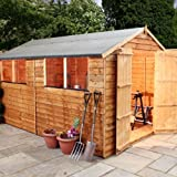 10ft x 8ft Overlap Apex Wooden Storage Shed - Brand New 10x8 Wood Sheds