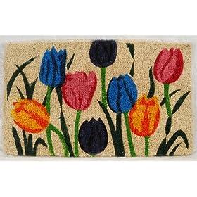 Printed Coco Coir Doormat Multi Tulip Design