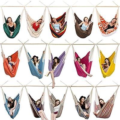 XXL Hängestuhl 2 Personen max. 150 kg 185x130 cm Hängesitz 100% Baumwolle Hängesessel inkl. Swivel von OmniDeal GmbH & Co. KG - Gartenmöbel von Du und Dein Garten