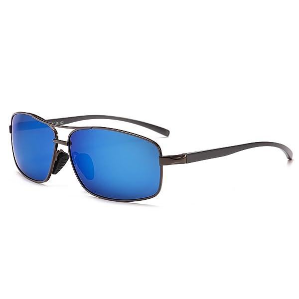 d84db405a1 SUNGAIT Ultra Lightweight Rectangular Polarized Sunglasses 100% UV  protection (Gunmetal Frame Blue Mirror Lens