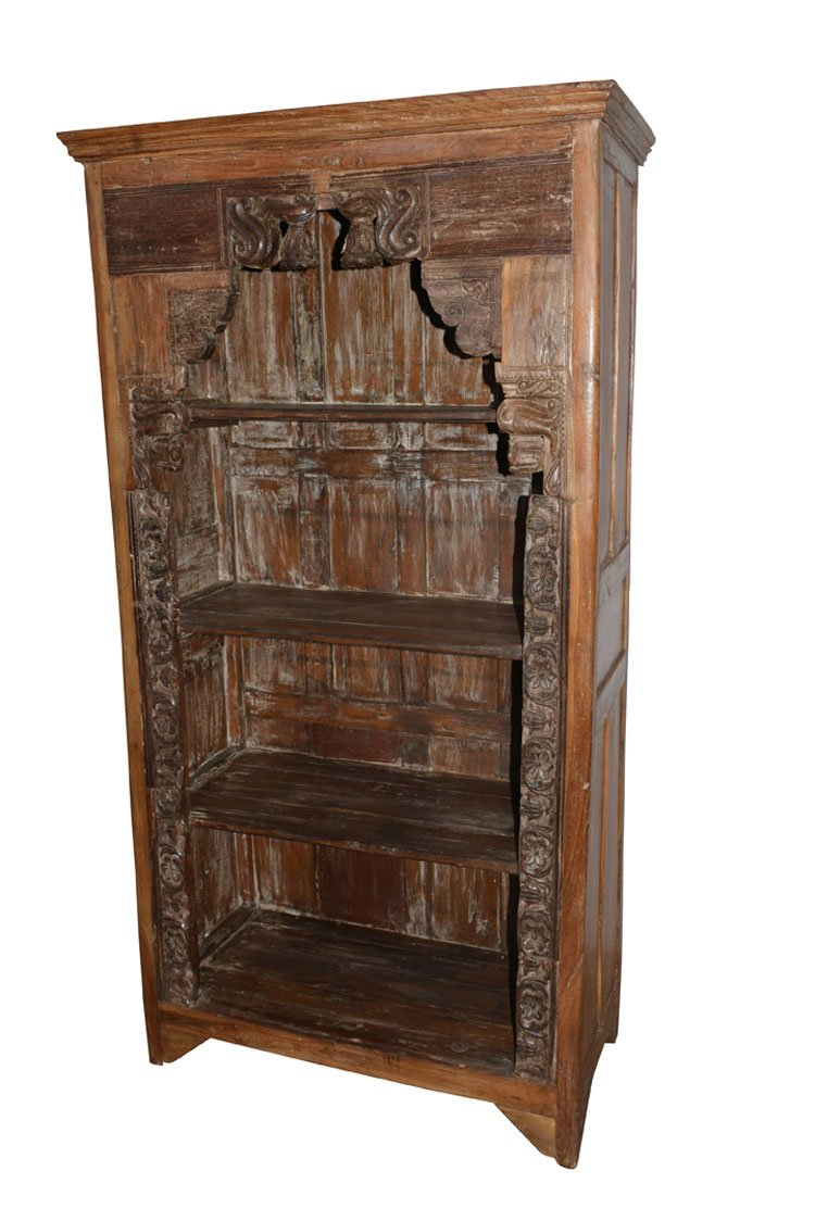 Antique Traditional Hand Carved Indian Book Case Bookshelf Arched Frame Wood 1