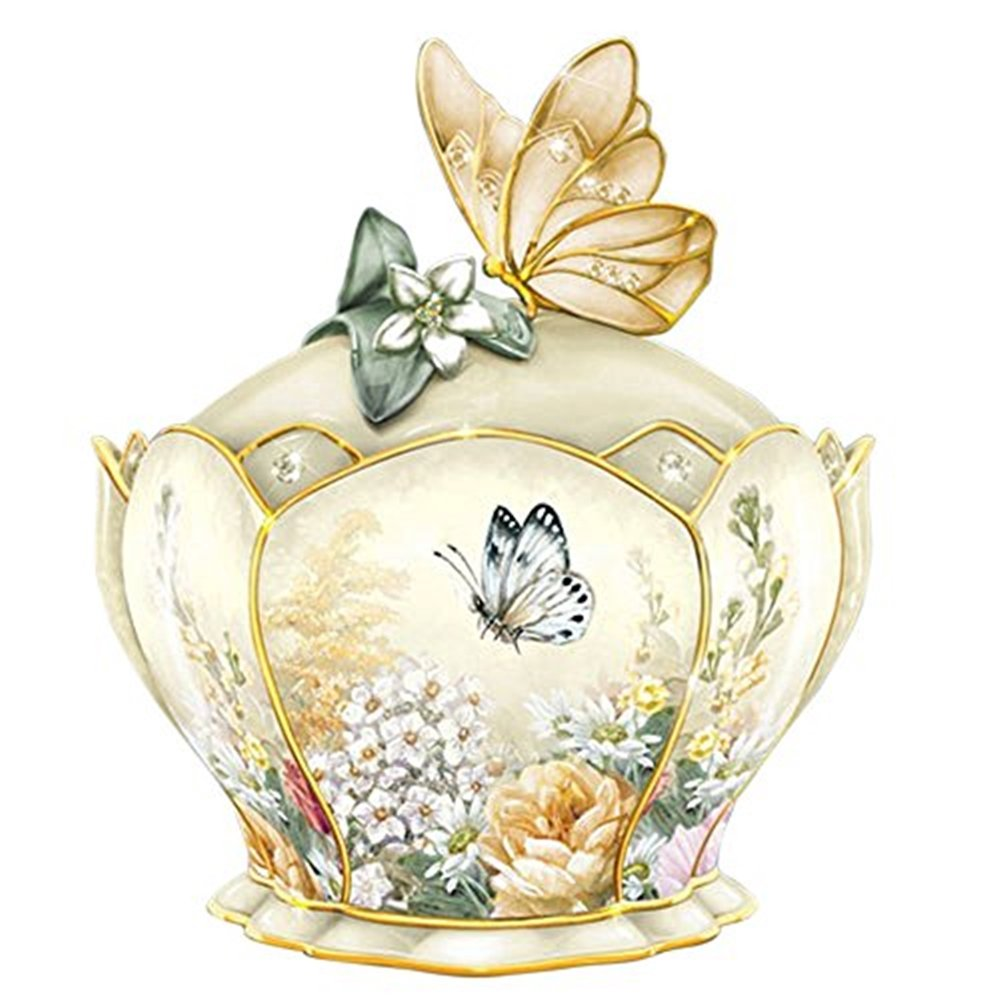 The Bradford Exchange Heirloom Golden Grace Porcelain Jeweled Music Box With Butterfly Handle By Lena Liu 0