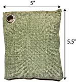 "NISPIRA Bamboo Charcoal Air Purifying Filtering Bag Reusable Freshener, Refrigerator air filter. 8 bags. Size 5.5"" x 5"". Green woven bag, 100 g each bag"