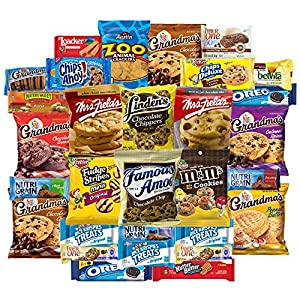 Sweet Cookies, Crackers & Snacks Variety Pack Bundle Includes Grandmas Cookies, Oreos, Chips Ahoy, Rice Krispies, Keebler & More Includes Recipes By Custom Varietea Bulk Sampler 30 Packs