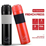 BRBHOM Set of 2 Plastic Portable Travel French Press Coffee Mug and Tea Black Red for Couple(Black/Red)
