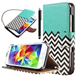 ULAK Waves Wallet Stand Case for Samsung Galaxy S5 with PU Leather and Card Slots + Screen Protector (Follow the sky)