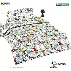 SNOOPY PEANUTS Bed In a Bag Set (Queen, SP04); 1 Four Season Comforter with 4 pieces of Bed Fitted Sheet Set