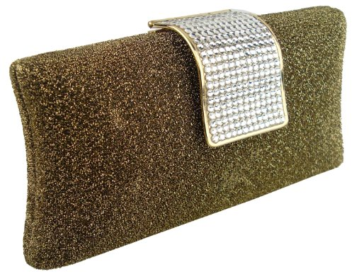 Glamorous Glitter Golden Yellow Hard Case Evening Clutch Baguette Handbag Purse Rhinestone Closure w/Detachable Chain