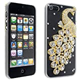 White Clear Luxury Bling Crystal Diamond Rhinestone Peacock Case Cover For iPhone 5 5g